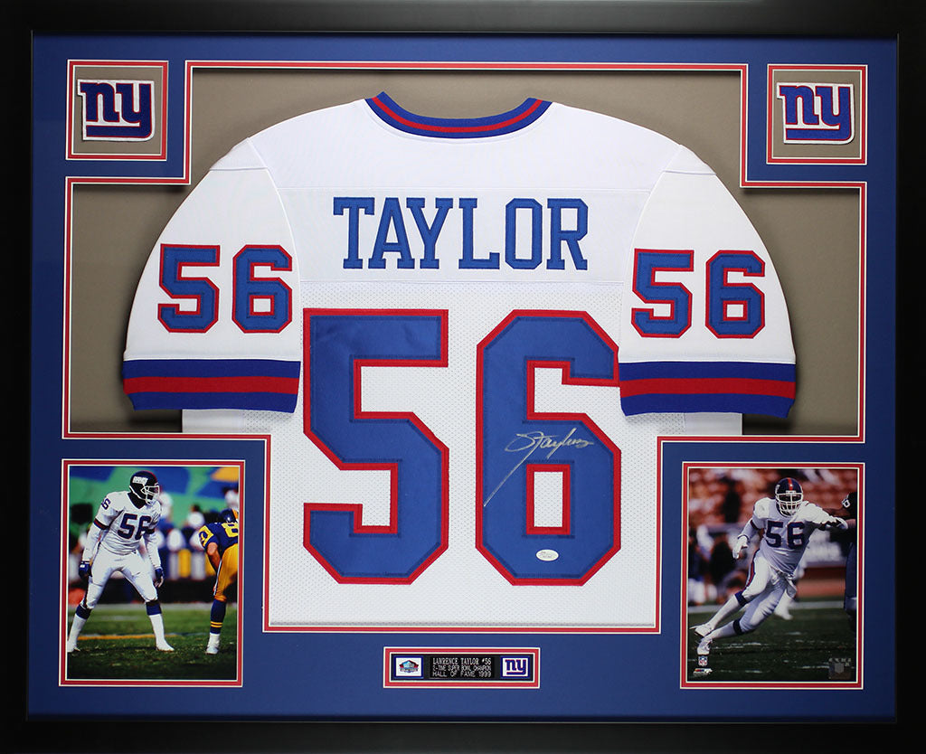 best loved 62a2e 5bb7b Lawrence Taylor Autographed and Framed White Jersey Auto JSA COA (D6-L)