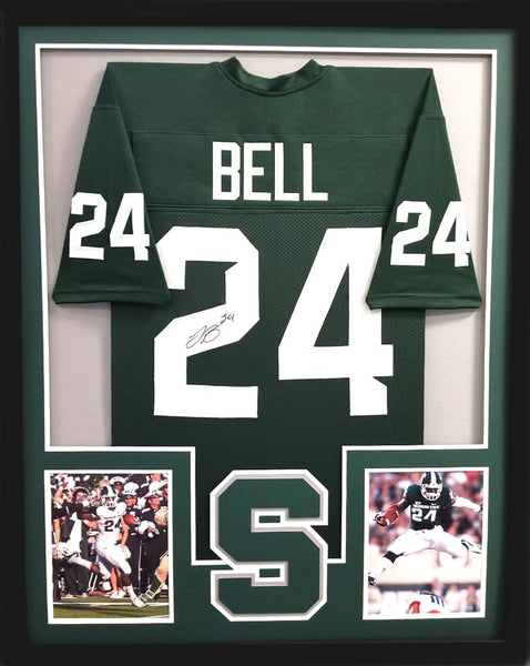 LeVeon Bell Signed Michigan State Spartans Framed Green Custom Jersey