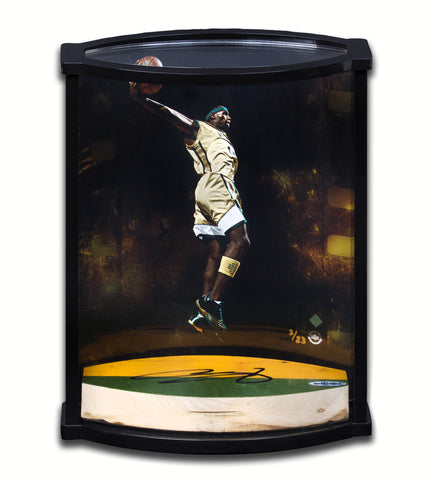 LeBron James Autographed Airborne Photo with Game Used Floor