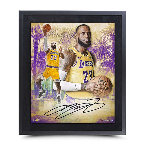 "LEBRON JAMES AUTOGRAPHED ""CITY OF ANGELS"" 20X24 FRAMED"