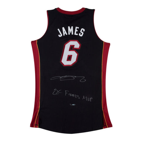 LeBron James Autographed & Inscribed 2X Finals MVP Black Heat Jersey