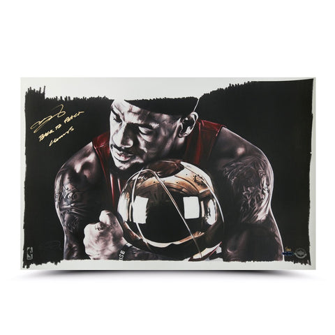 "LeBron James Autographed & Inscribed ""Magic Moment"" 24 x 16 Illustration"