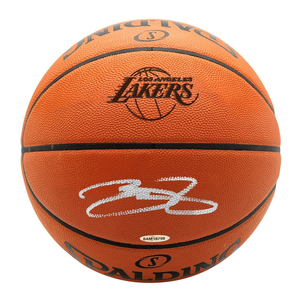 best value f288c f2365 LeBron James Autographed Los Angeles Lakers Logo Stamp Authentic Spalding  Basketball