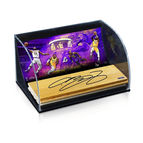"LeBron James Autographed NBA Game-Used Floor With ""Purple & Gold"" 10 x 8 Photo Curve Display"