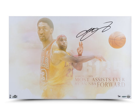 "LeBron James Autographed ""Passing of the Forward"" Photo"