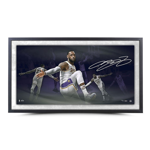"LEBRON JAMES AUTOGRAPHED ""POETRY"" 36X18 FRAMED"