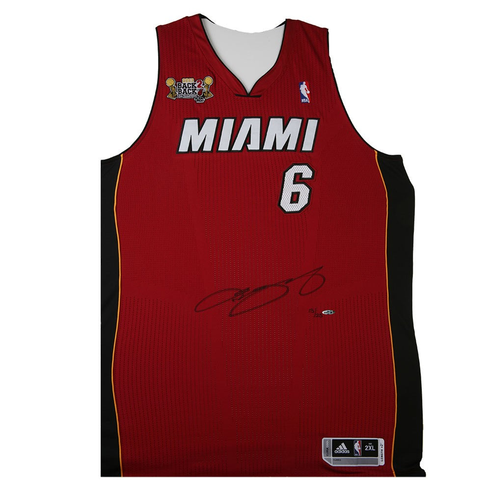 cf3ef36e7 LeBron James Autographed Red Heat Jersey With 2013 Back-To-Back NBA Ch – Super  Sports Center