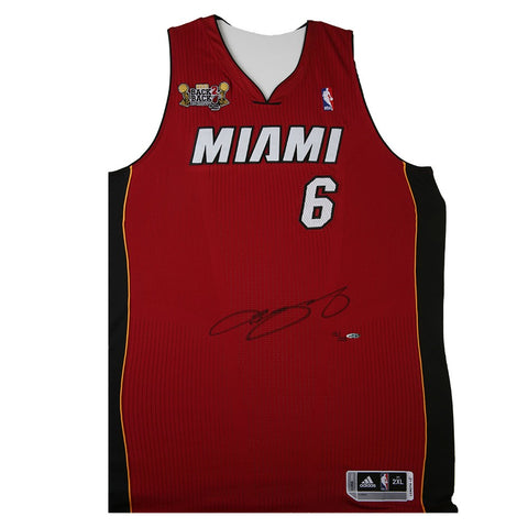 LeBron James Autographed Red Heat Jersey With 2013 Back-To-Back NBA Champions Patch