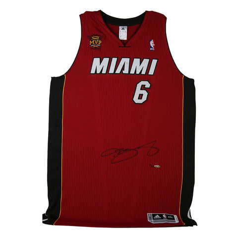 LeBron James Autographed Red Heat Jersey With Back-To-Back Finals MVP Patch