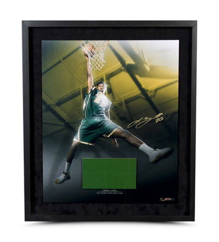LeBron James High School Dunk Photo & Game Used Floor