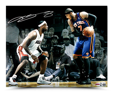 LeBron James Autographed Matchup Photo vs Carmelo Anthony
