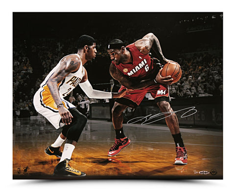 LeBron James Autographed Match Up Photo vs. Paul George