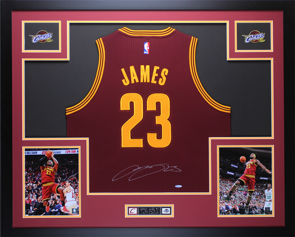 1855bc39917 Lebron James Autographed   Framed Maroon Cavs Jersey Auto Upper Deck C –  Super Sports Center