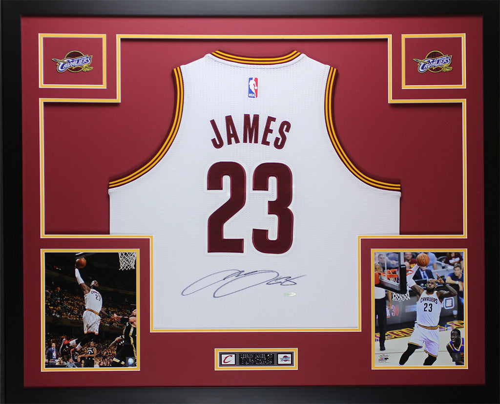 sports shoes cb3b1 c5843 Lebron James Autographed & Framed White Cavs Jersey Auto Upper Deck COA D3-L