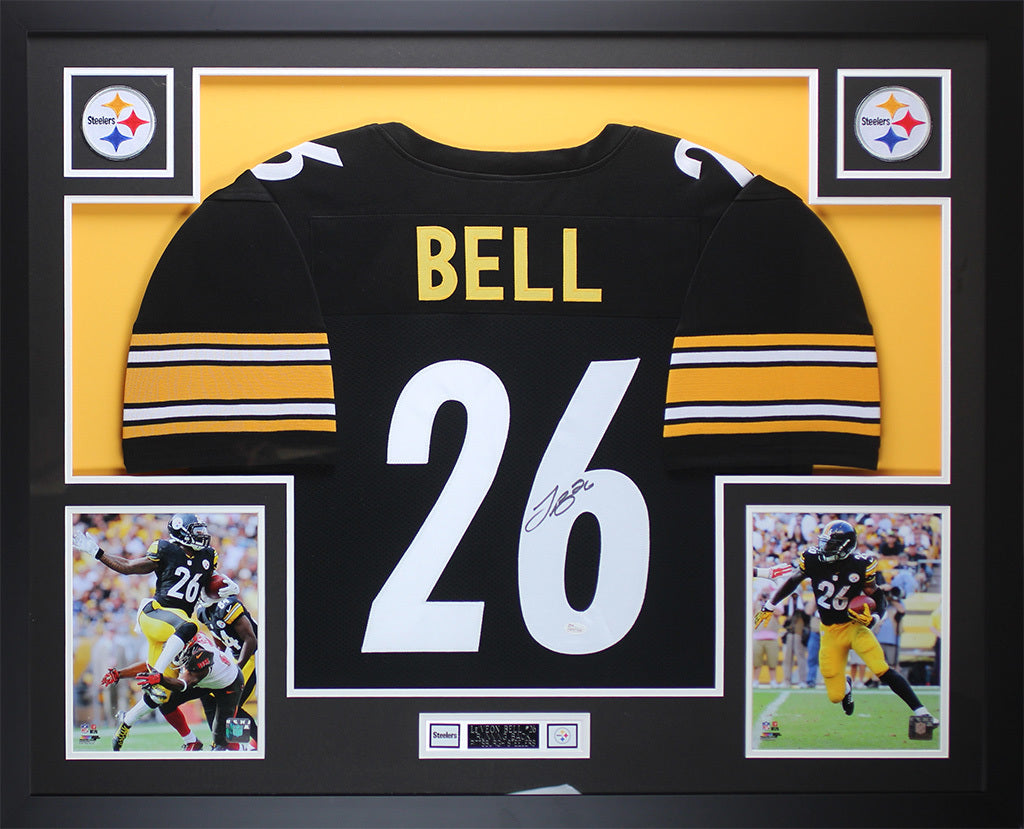 f43d1e37f10 Leveon Bell Autographed   Framed Black Steelers Jersey Auto JSA COA D1 –  Super Sports Center