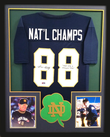 "Lou Holtz Signed Signed Framed Notre Dame Fighting Irish Blue Custom Jersey With ""Play Like A Champion Today"" Inscription"