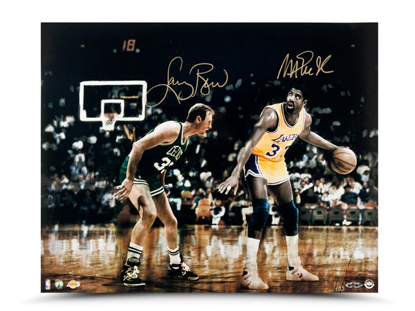 Magic Johnson & Larry Bird Autographed Match Up 16 x 20