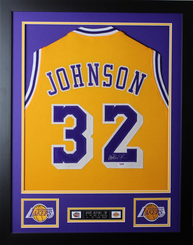 Magic Johnson Autographed and Framed Gold Lakers Jersey Auto PSA COA D2-S