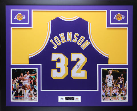 Magic Johnson Autographed & Framed Purple Lakers Jersey JSA COA D8-L