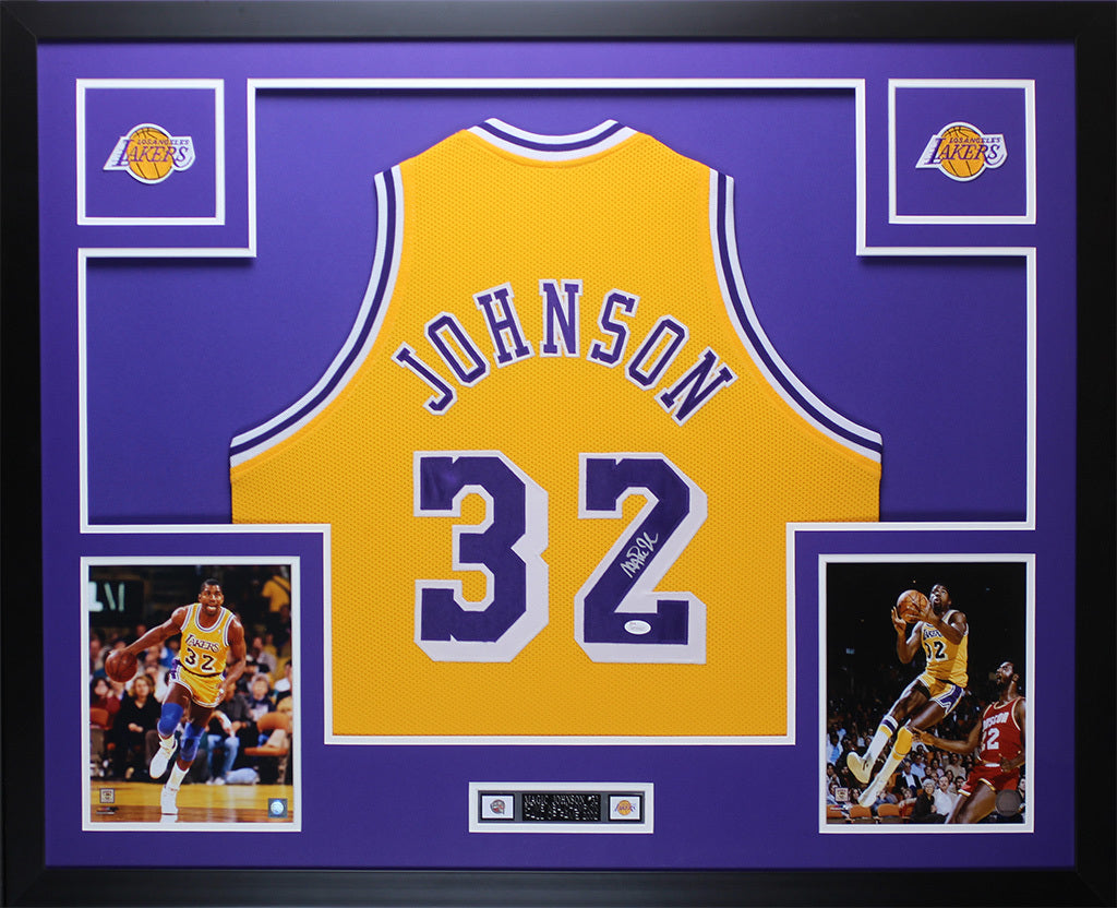 separation shoes 9e6be 46152 Magic Johnson Autographed & Framed Yellow Lakers Jersey JSA COA D9-L
