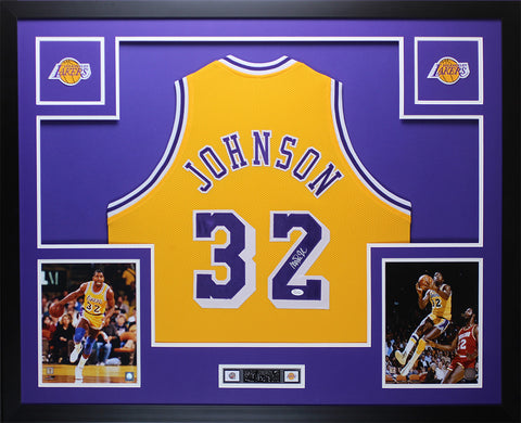 Magic Johnson Autographed & Framed Yellow Lakers Jersey JSA COA D9-L