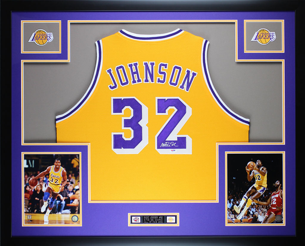 san francisco 99549 b7d0d Magic Johnson Autographed and Framed Yellow Lakers Jersey Auto PSA Certified