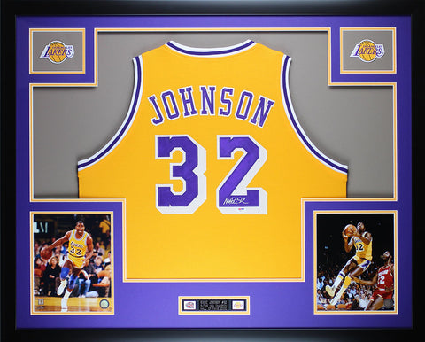 Magic Johnson Autographed and Framed Yellow Lakers Jersey Auto PSA Certified