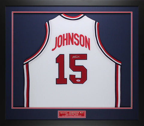 Magic Johnson Autographed & Framed White Team USA Jersey PSA COA D1-M