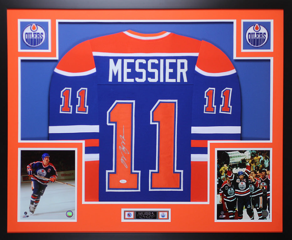 the latest 4c45d bf32a Mark Messier Autographed & Framed Blue Oilers Jersey Auto JSA COA D2-L