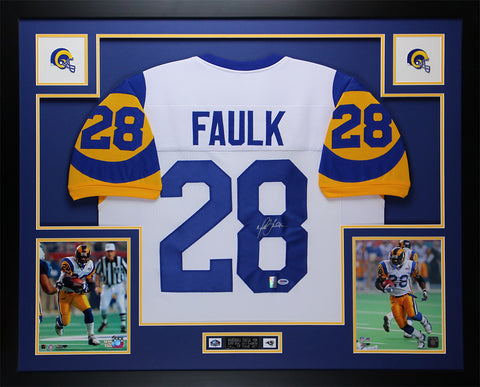 Marshall Faulk Autographed & Framed White Rams Jersey PSA COA D3-L
