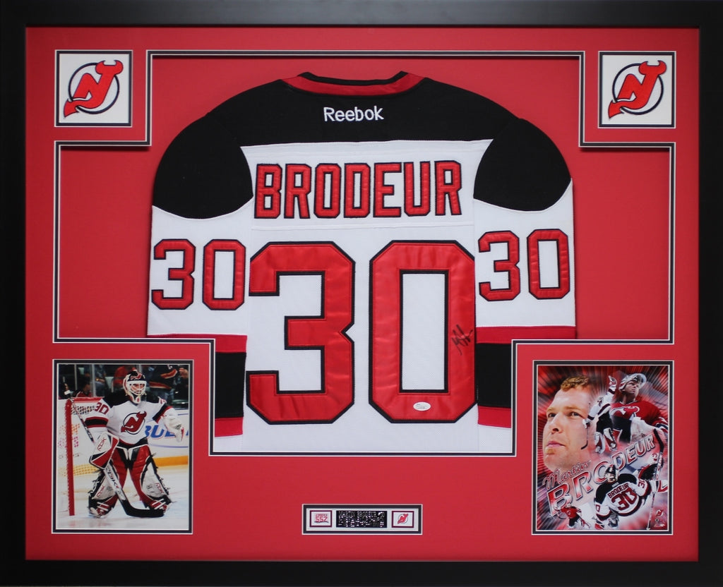 sale retailer c3a00 f7d22 Martin Brodeur Autographed and Framed White Devils Jersey Auto JSA Certified