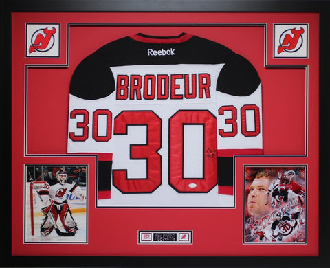 Martin Brodeur Autographed and Framed White Devils Jersey Auto JSA Certified
