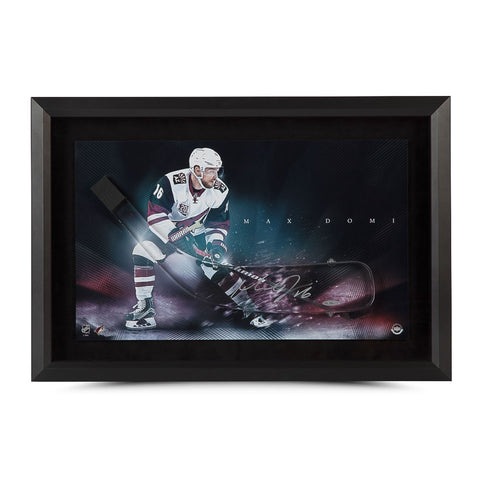 "Max Domi Autographed Stick Blade with ""Dynamic"" Coyotes Picture (Framed)"