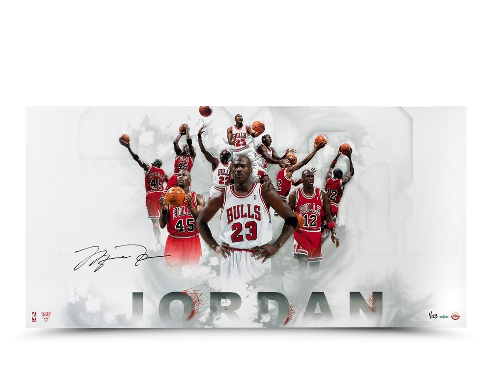 9cf74ab02e5 Michael Jordan Autographed #12 #23 #45 Jersey Number Photo – Super Sports  Center