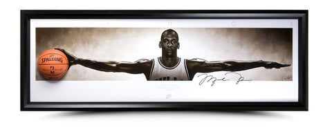 Michael Jordan Autographed Wings Breaking Through Photo - Framed