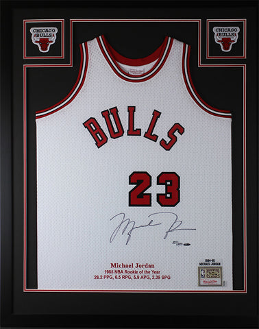 buy popular 987a0 39551 Michael Jordan Autographed   Framed Red Bulls Jersey Auto Upper Deck COA D16