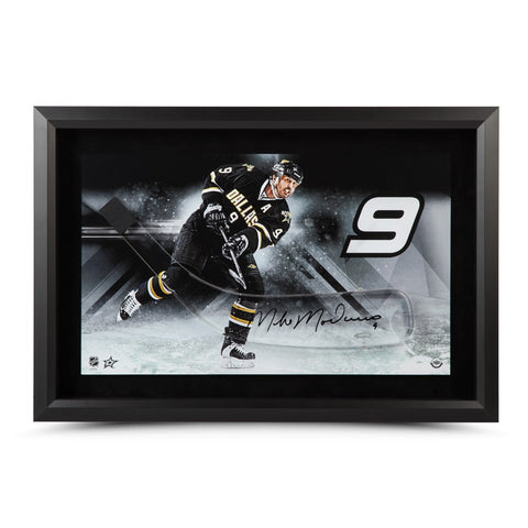 Mike Modano Autographed Stick Blade with Dallas Stars Picture - Framed
