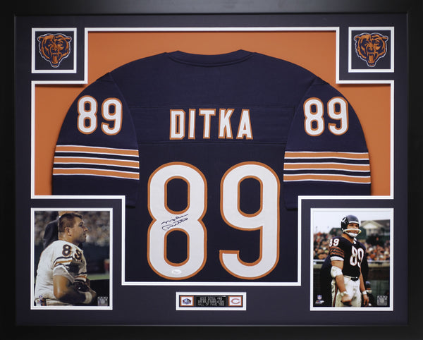 Mike Ditka Autographed and Framed Blue Bears Jersey Auto JSA Certified