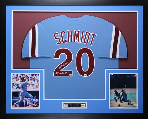 Mike Schmidt Autographed 80 WS CHAMPS & Framed Phillies Jersey Fanatics  COA