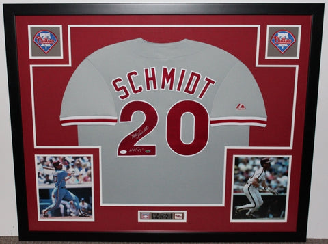 Mike Schmidt Autographed HOF 95 and Framed Gray Phillies Jersey Auto JSA Certified