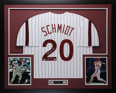 "Mike Schmidt Autographed ""HOF 95"" & Framed White Phillies Jersey Fanatics COA"