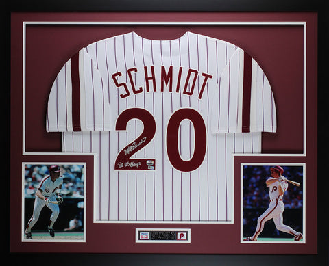 Mike Schmidt Autographed 80 WS CHAMPS Framed White Pinstriped Phillies Jersey Fanatics COA