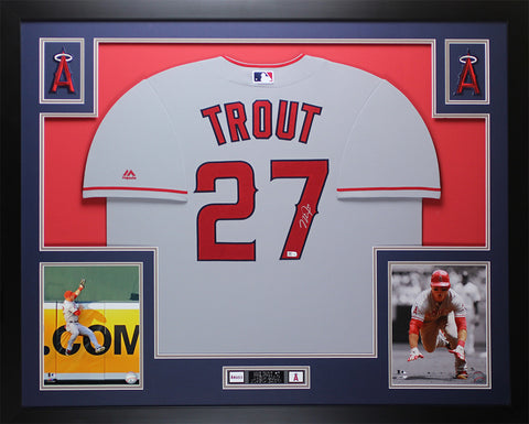 6d10a6860 Mike Trout Autographed and Framed Gray Angels Jersey Auto MLB COA D19-L