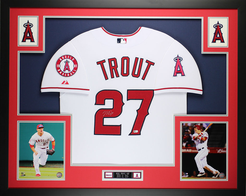 low priced fa06f 9b917 Mike Trout Autographed and Framed White Angels Jersey Auto MLB COA (D14-L)