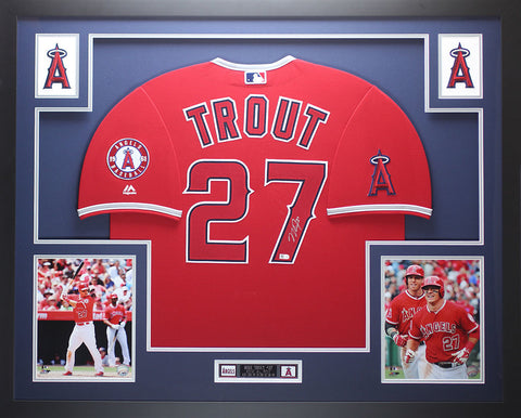 b1477d98c Mike Trout Autographed and Framed Red Angels Jersey Auto MLB COA D17-L