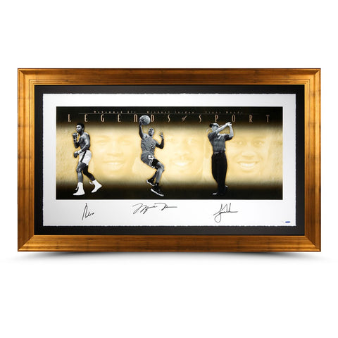 Muhammad Ali, Michael Jordan and Tiger Woods Autographed Legends of Sport 57x34 Collage Photo - Framed