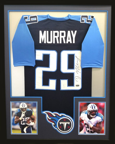 DeMarco Murray Signed Framed Tennessee Titans Navy Blue Custom Jersey