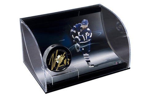 Nazem Kadri Autographed Hockey Puck with Curve Display Case