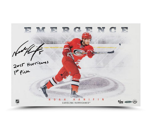 Noah Hanifin Autographed & Inscribed Emergence 11 x 17 Photo