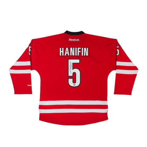 Noah Hanifin Autographed Red Reebok Premier Carolina Hurricanes Jersey